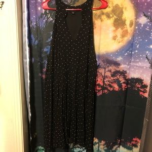 Cute black midi dress with white polka dots